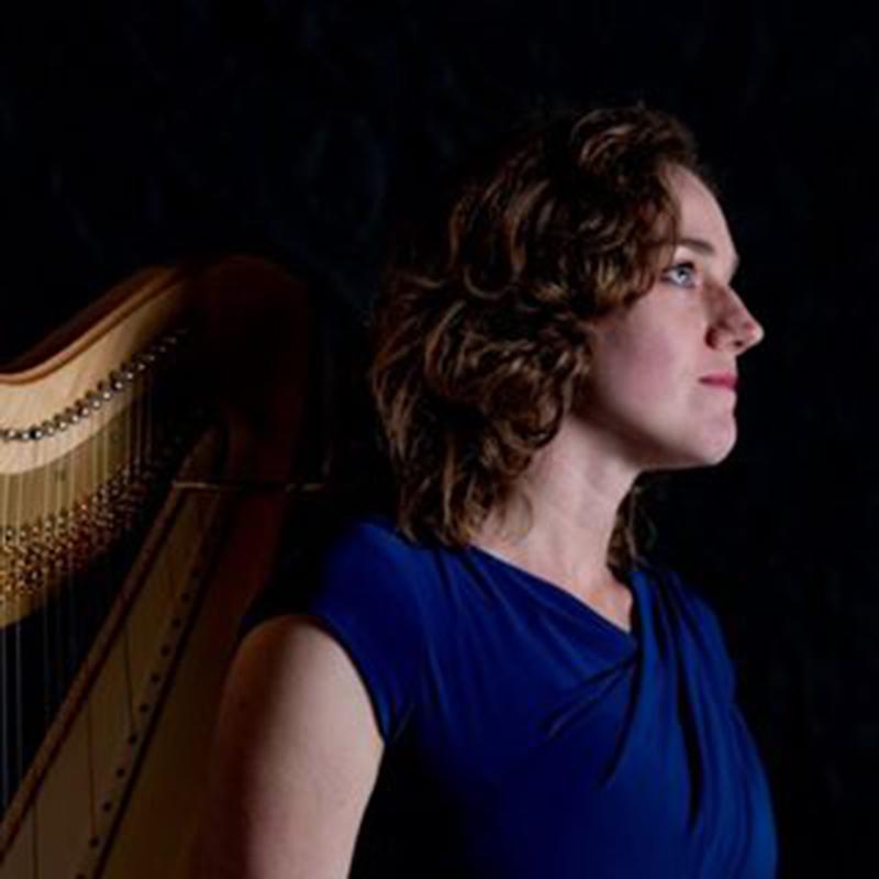 Woman standing near a harp