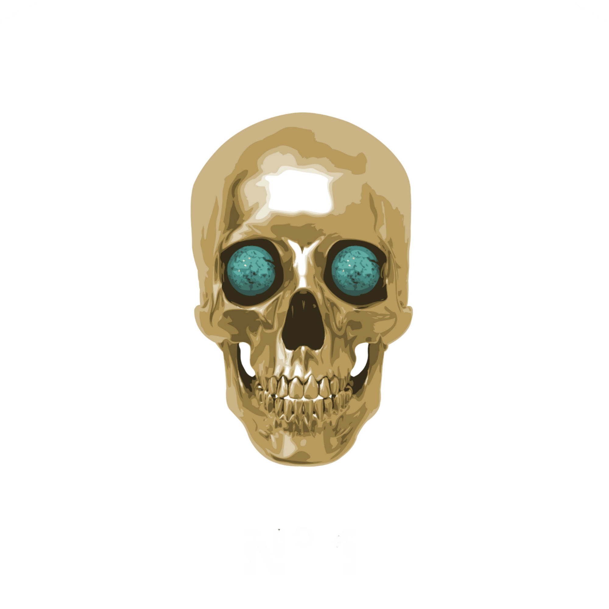 Gold Skull with green eyes