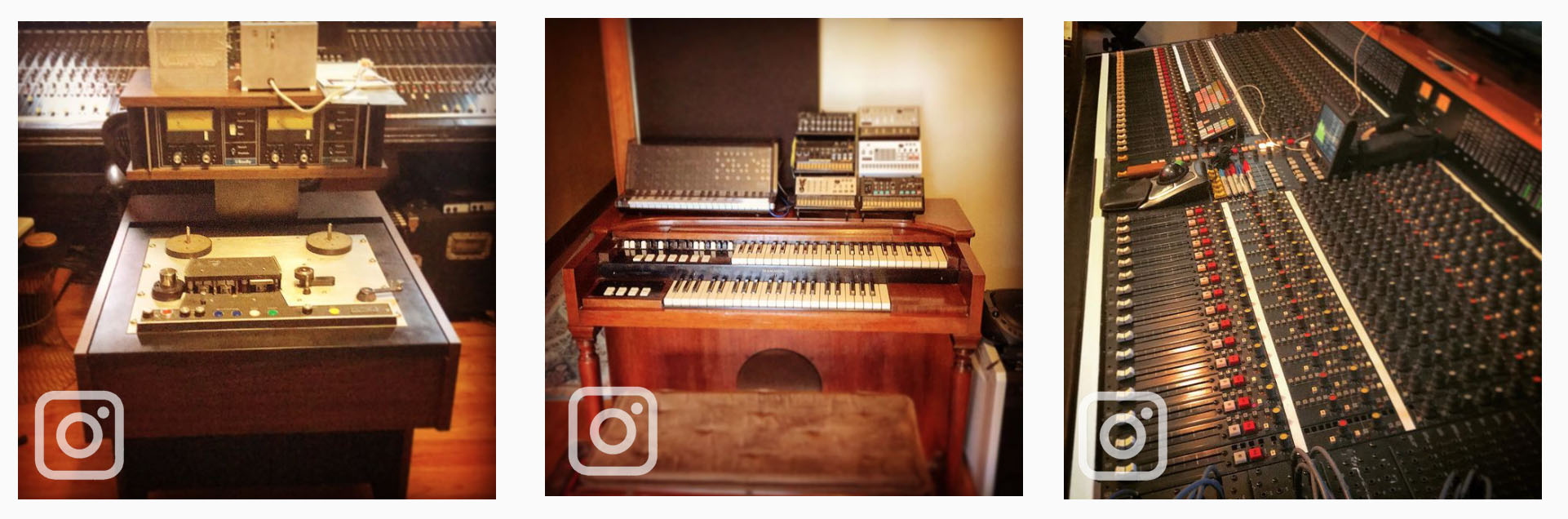 vintage tape machine, Hammond organ and large recording console, each image from Curio Recording Instagram